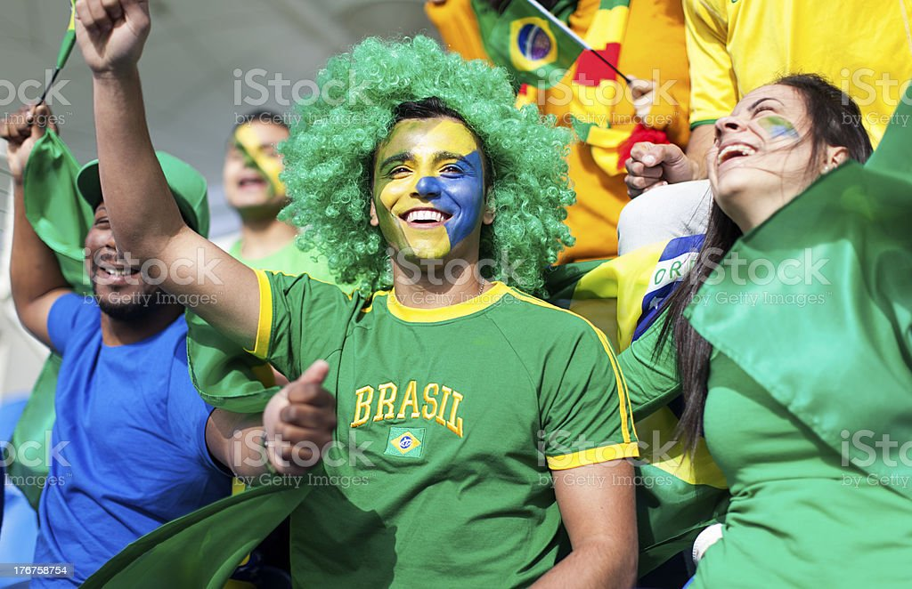 Group of soccer fans watching a Brazil game. royalty-free stock photo