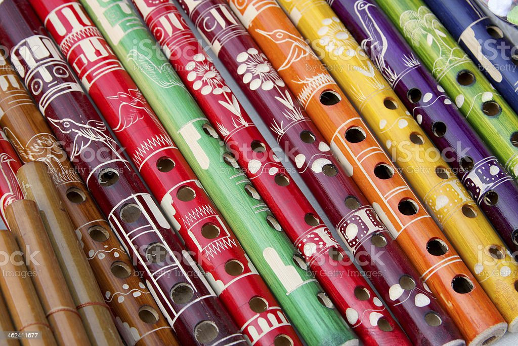 Group of South American colourful pipes, Peru. stock photo