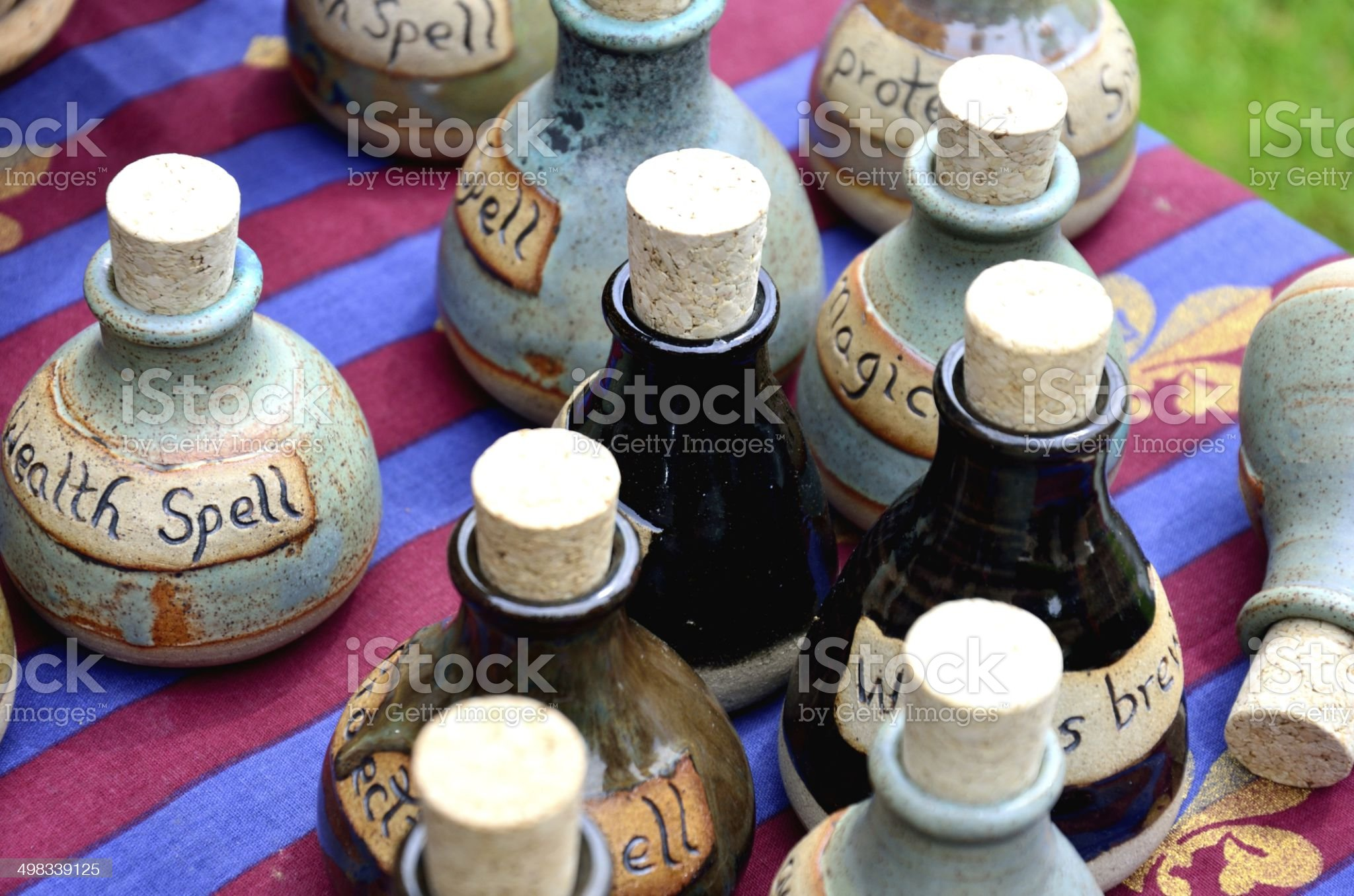 group of spell bottles royalty-free stock photo