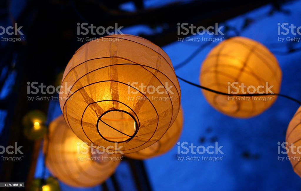 Group of spherical lamps stock photo