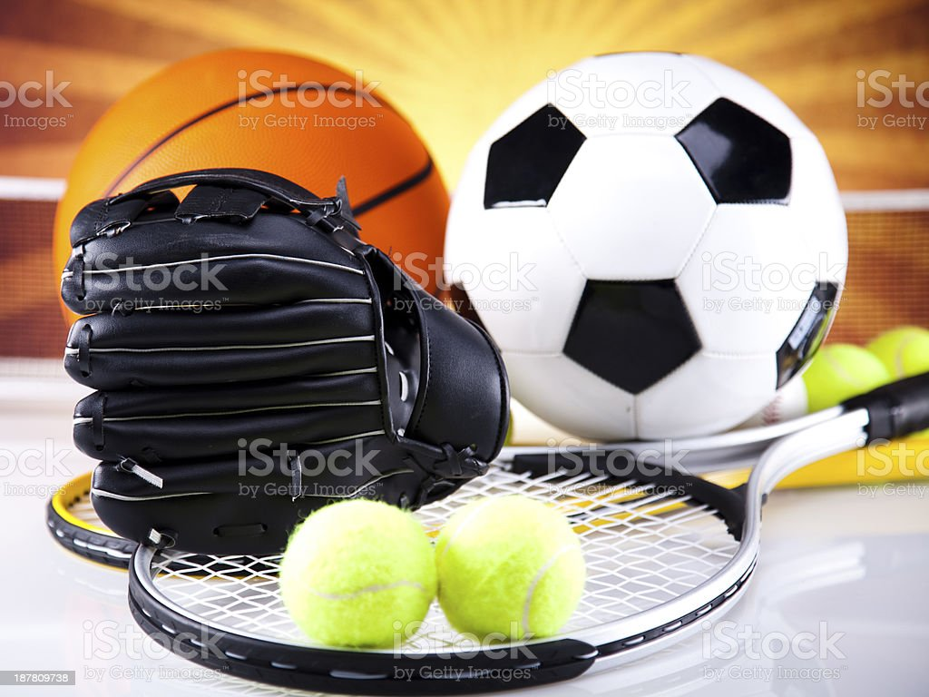Group of sports equipment royalty-free stock photo