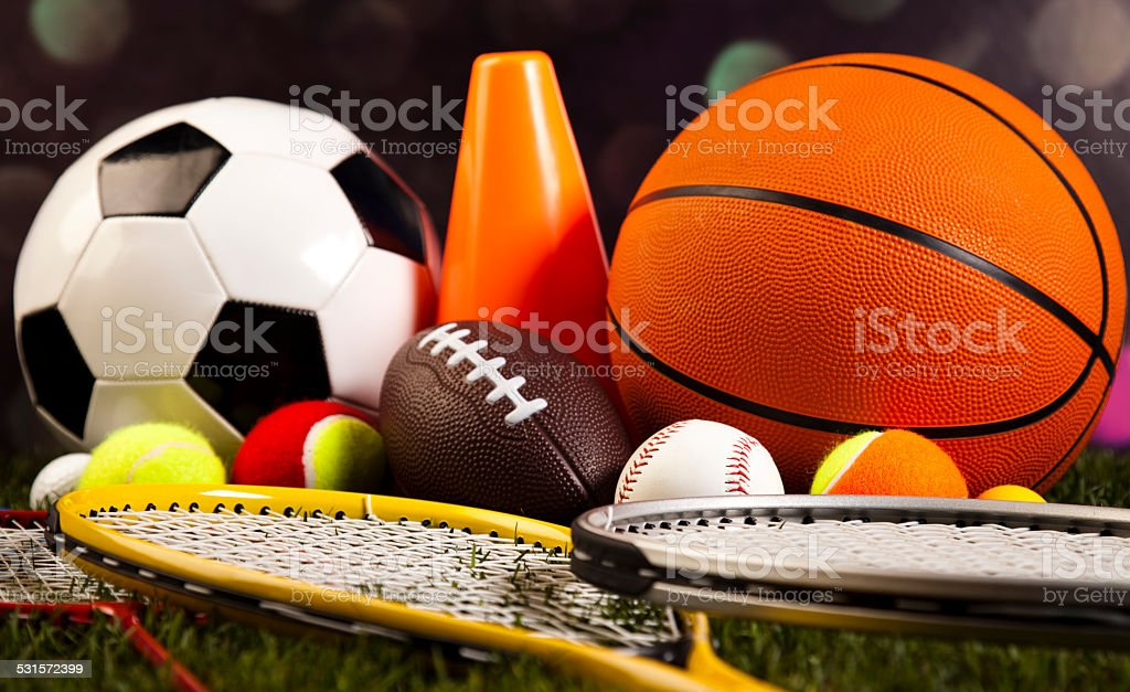 Group of sports equipment stock photo