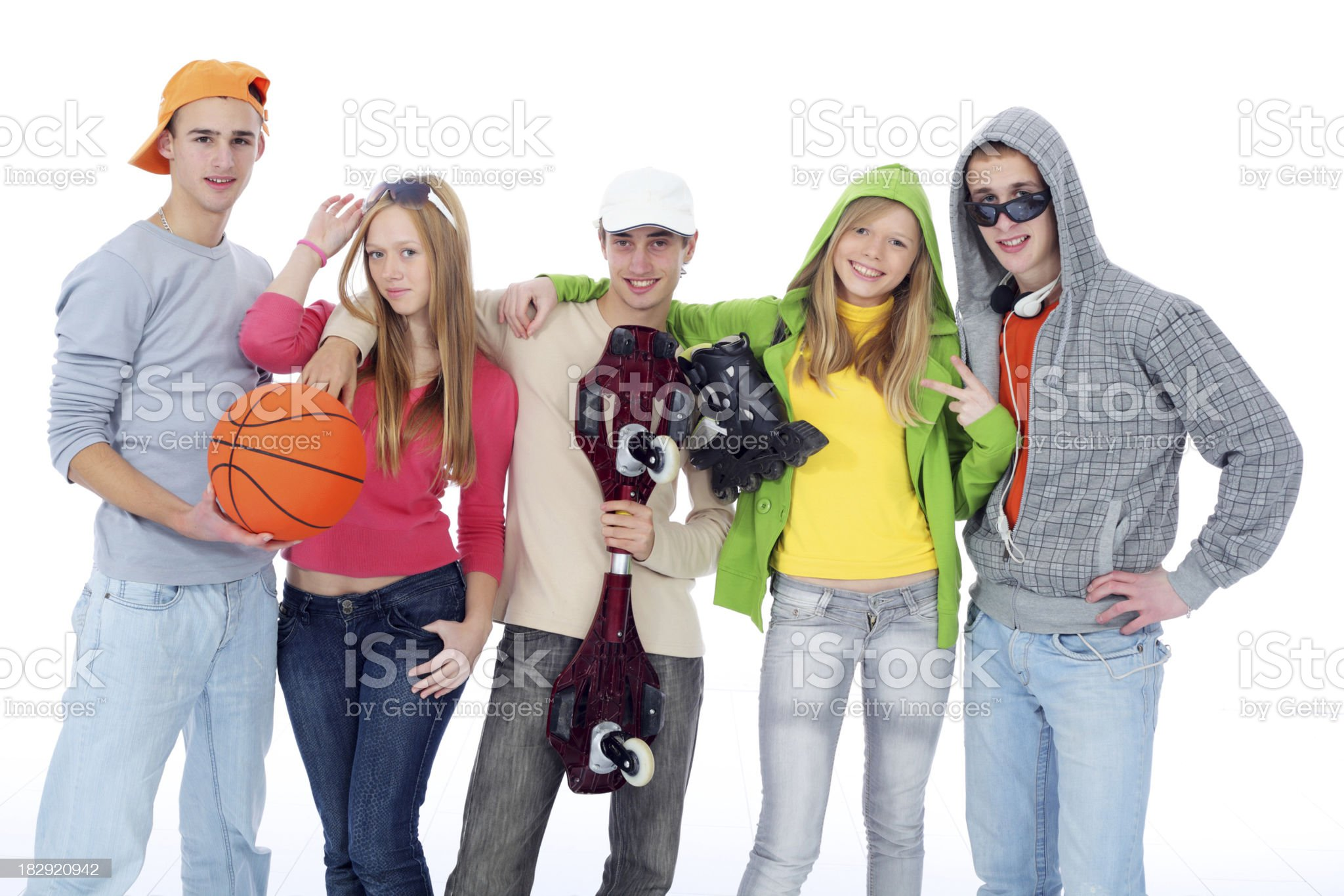 Group of sporty teenagers. royalty-free stock photo