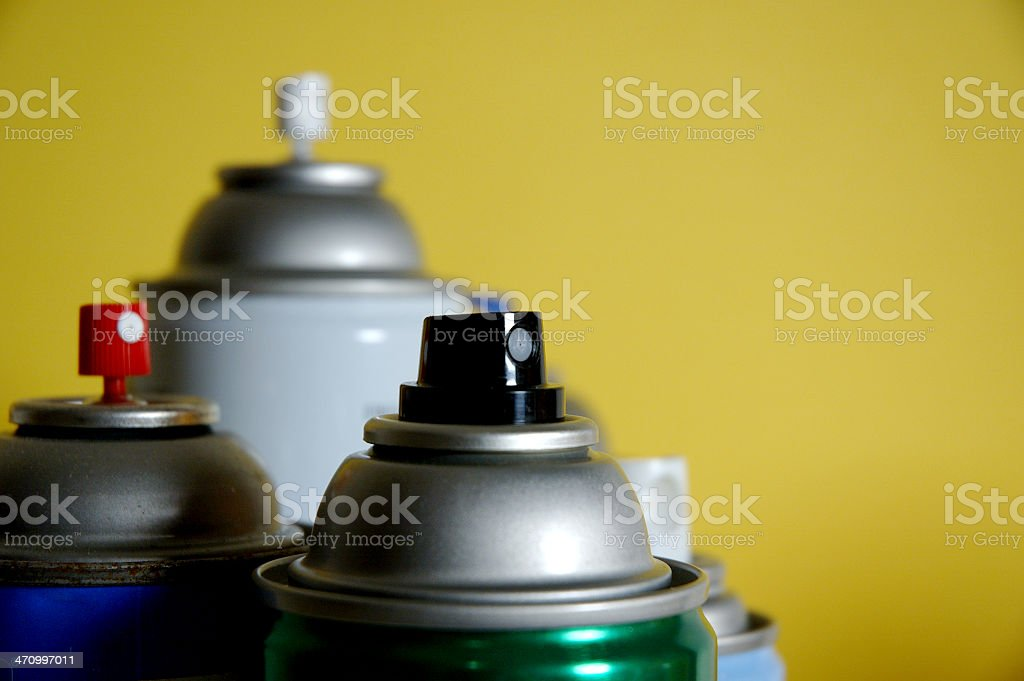 Group of spray cans stock photo