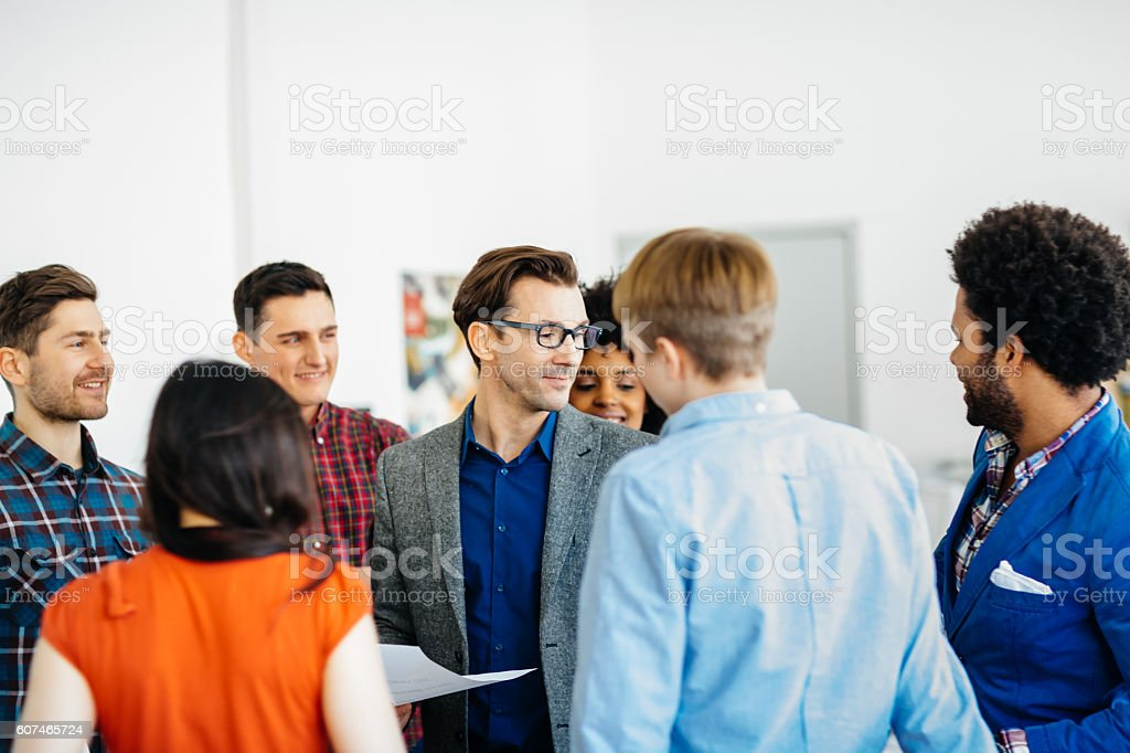 Group of start up people in a team meeting stock photo