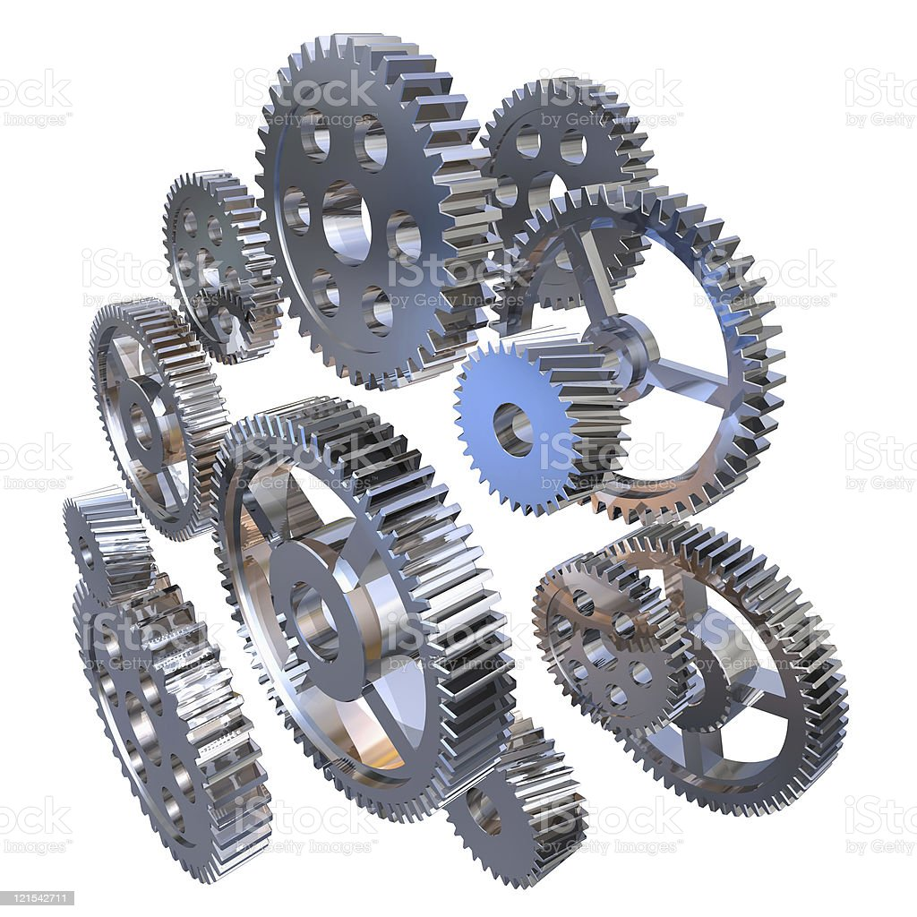 Group of steel gears stock photo