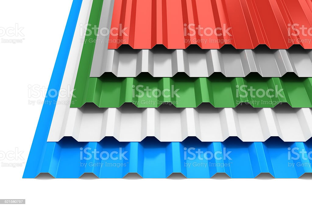 Group of steel profile sheets stock photo
