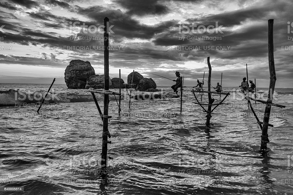 Group of stilt fishermen stock photo