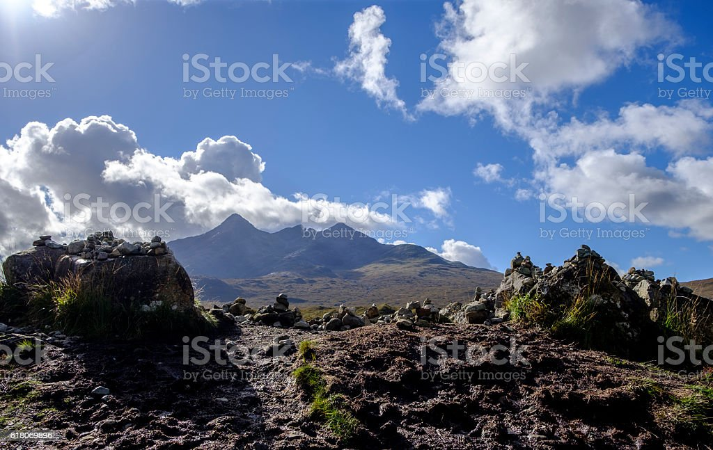 Group of stone cairns stock photo