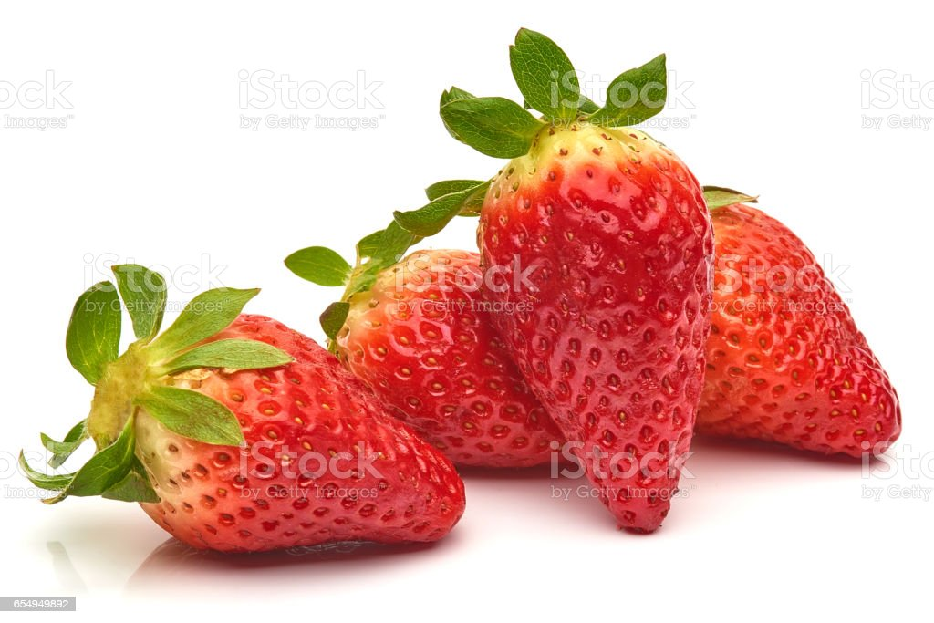 Group of Strawberries isolated on white background stock photo