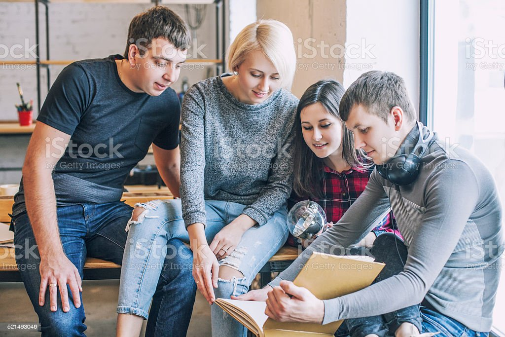 Group of students are doing and discussing creative ideas stock photo