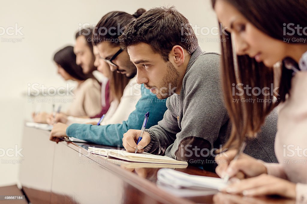 Group of students at classroom stock photo