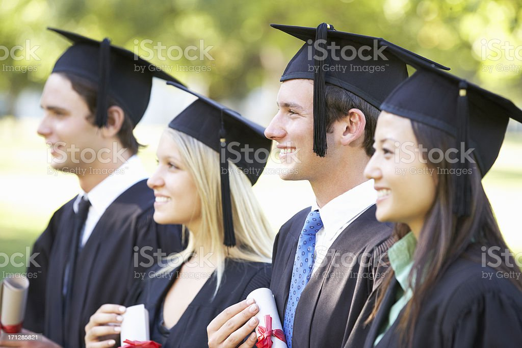 Group Of Students Attending Graduation Ceremony royalty-free stock photo