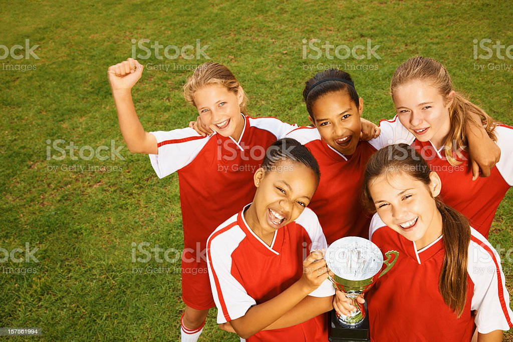 Group of students celebrating a sports victory royalty-free stock photo