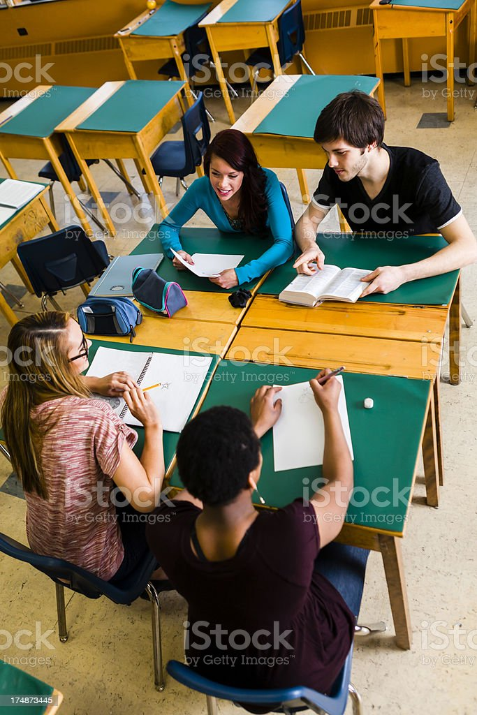 Group of students doing work royalty-free stock photo