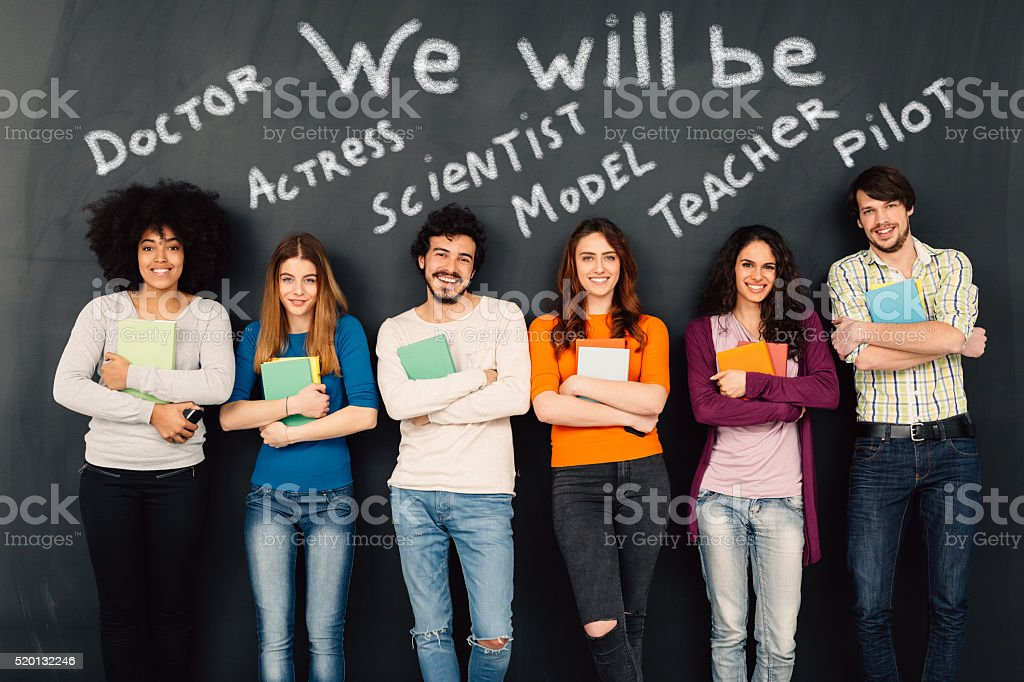 Group of students dreaming about careers stock photo