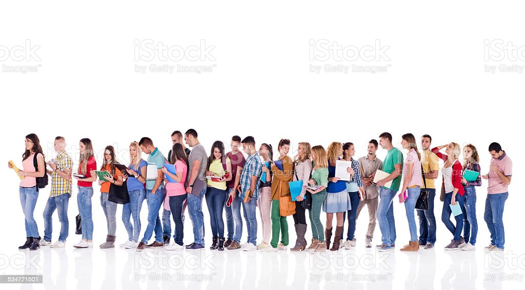 Group of students in a line. stock photo