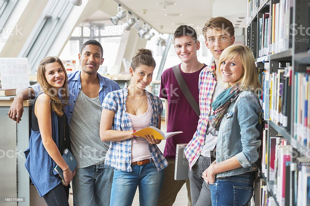 Group of Students in Library royalty-free stock photo