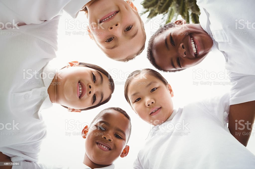 Group of students looking at camera stock photo