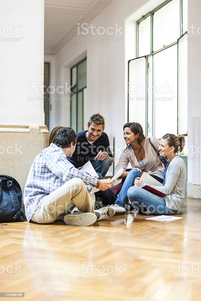 Group of Students Meeting at College stock photo