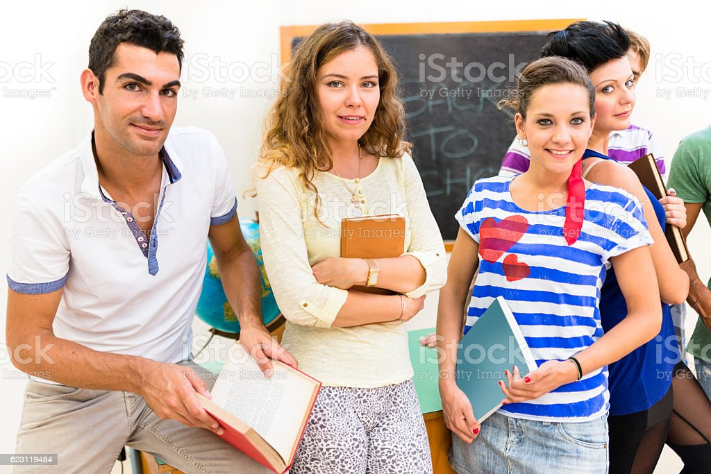 Group of students portrait at the school stock photo