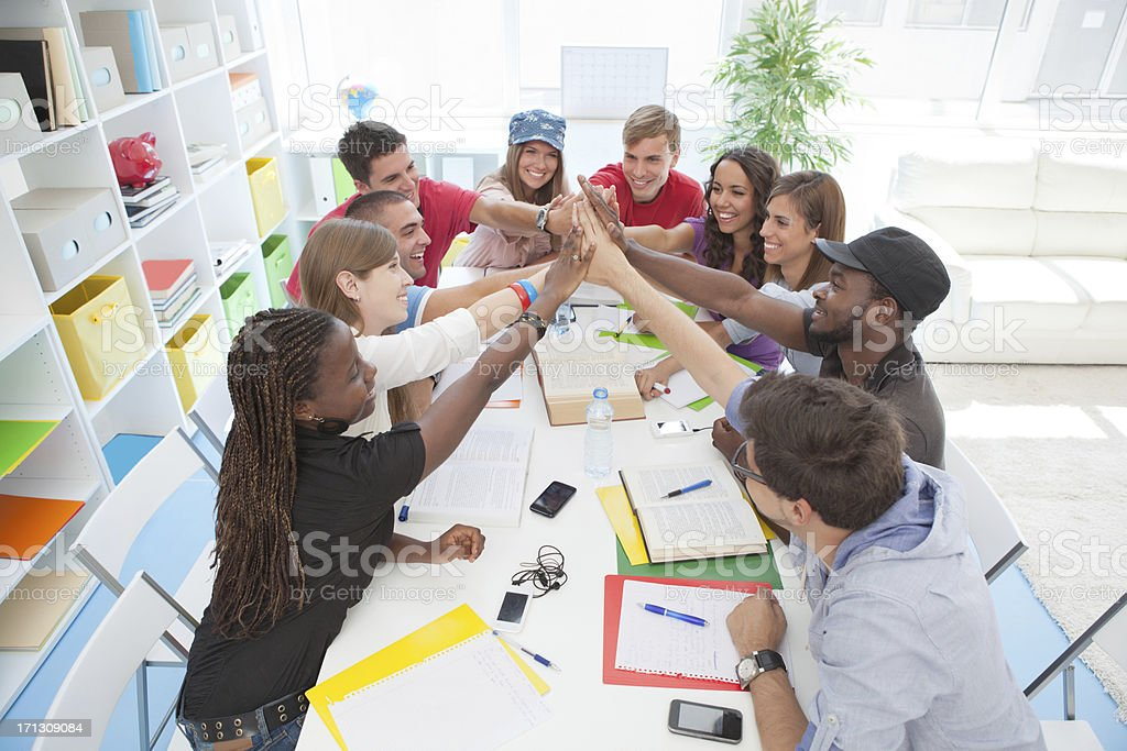Group of students study together royalty-free stock photo