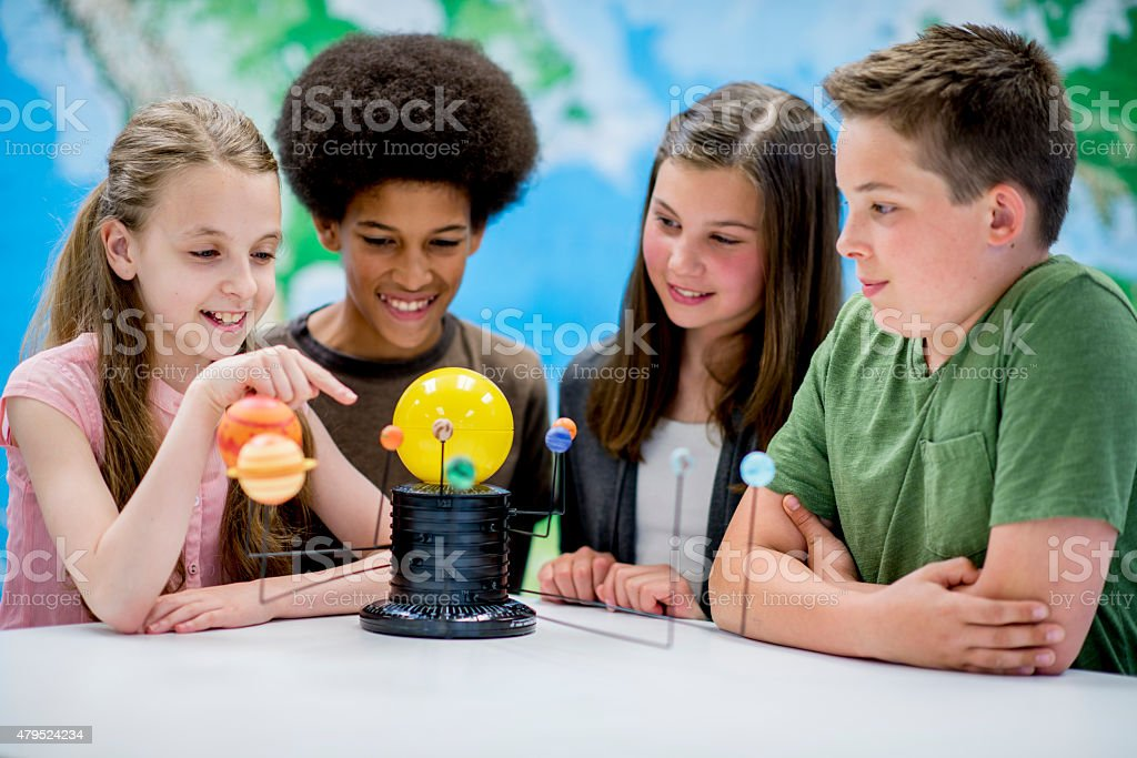 Group of Students Studying Astronomy stock photo