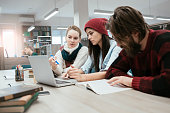 group of students studying in study room