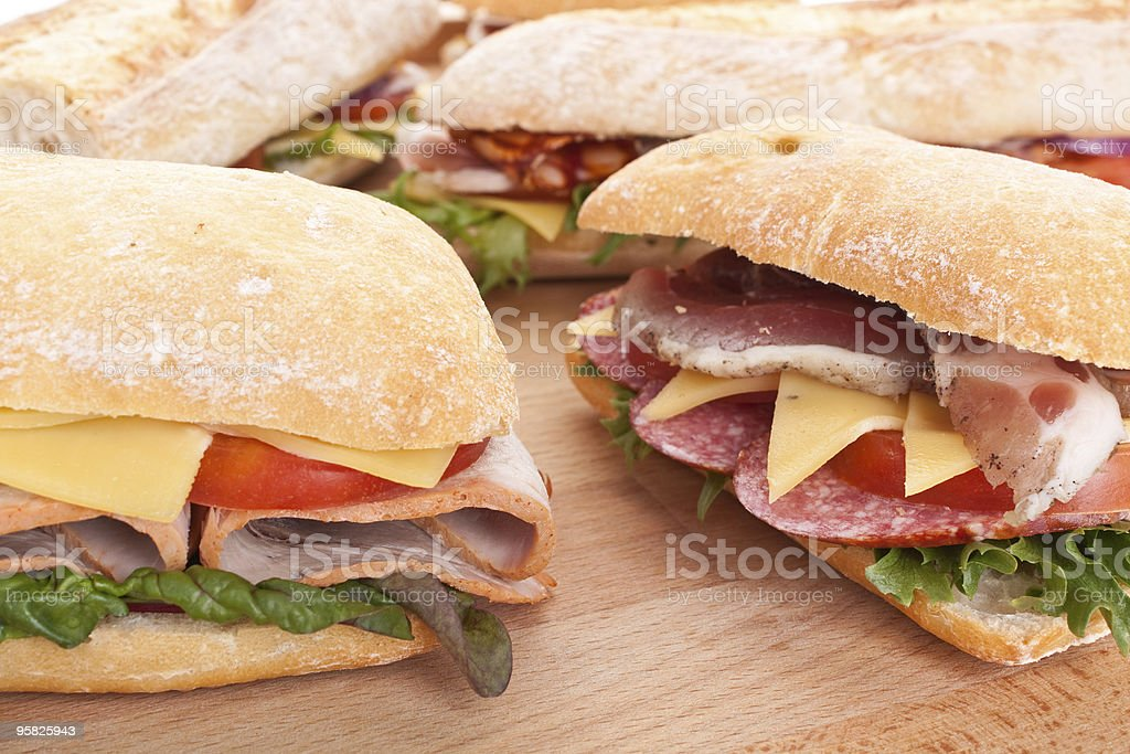 group of stuffed  sandwiches on a table royalty-free stock photo