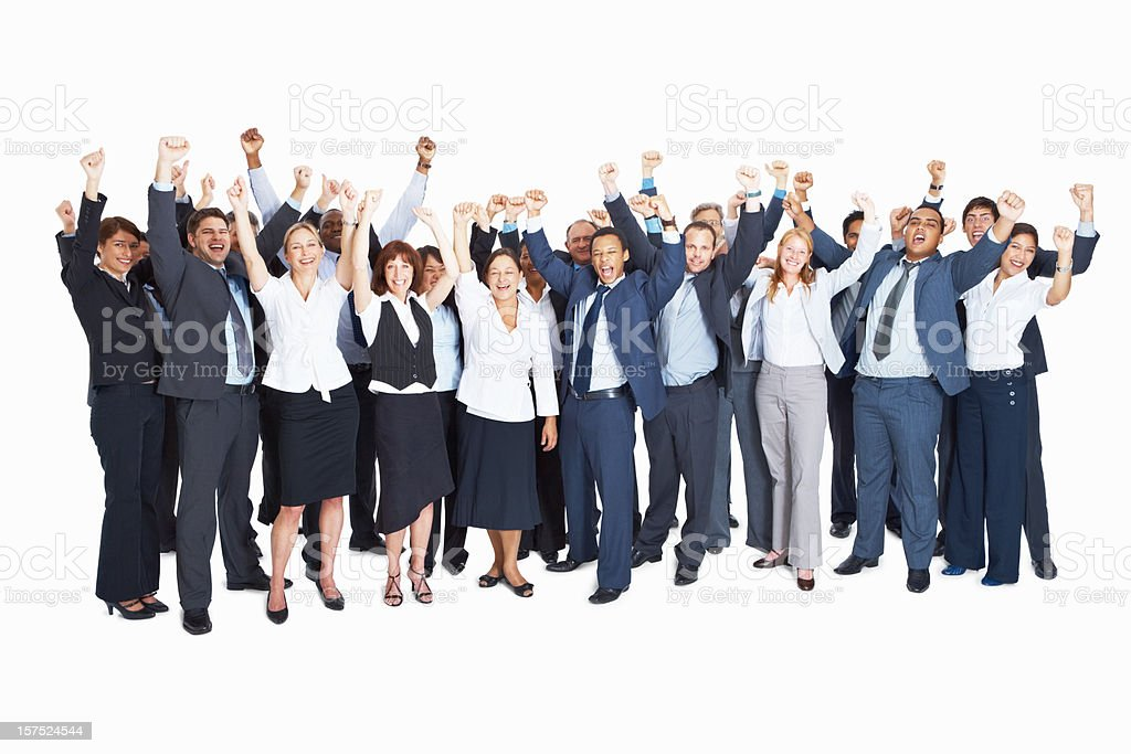 Group of successful business colleagues with hands raised royalty-free stock photo
