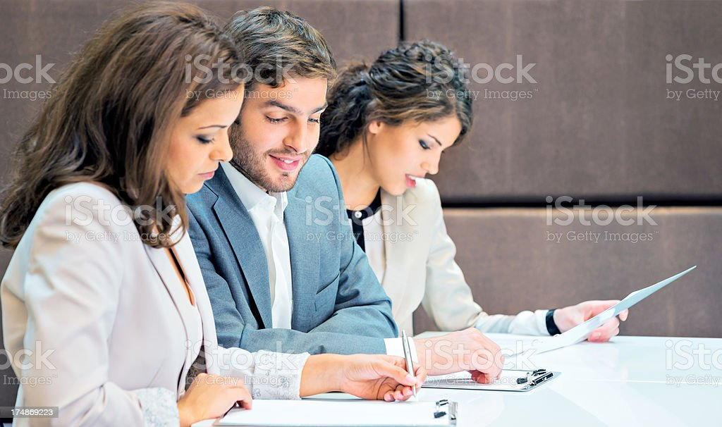 Group of successful businesspeople on a meeting royalty-free stock photo