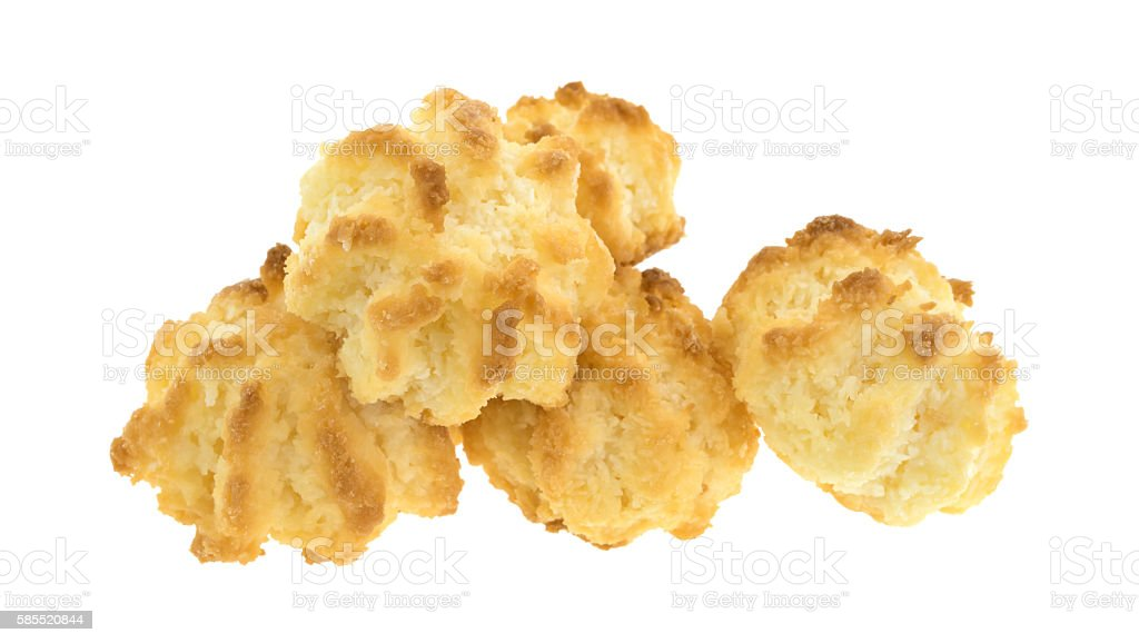 Group of sugar free coconut macaroons on a white background stock photo
