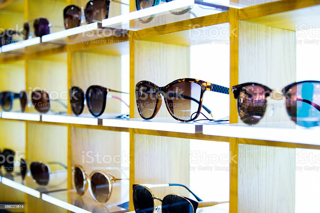 Group of sunglasses in shop stock photo
