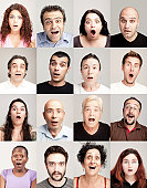 Group of surprised people