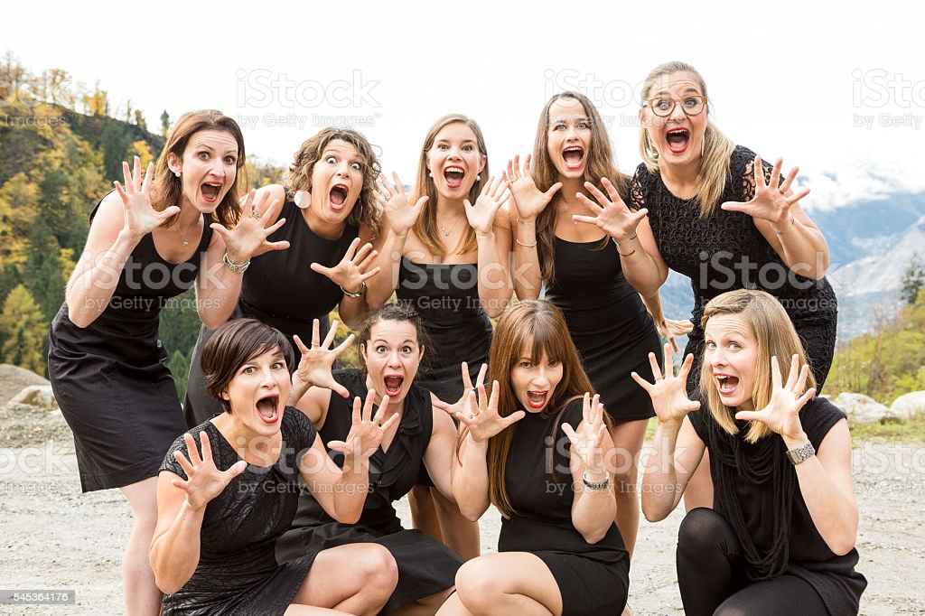 Group of surprised women stock photo