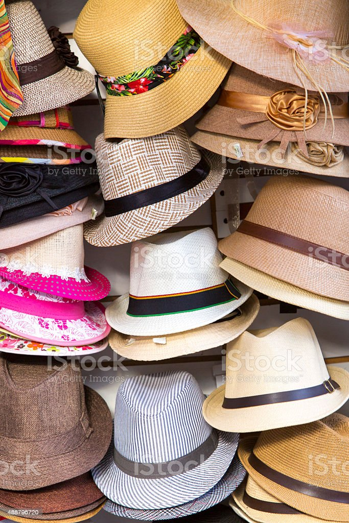 Group of tango hats, Buenos Aires stock photo
