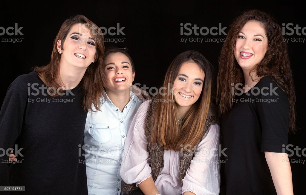 Group of teen girls portrait stock photo