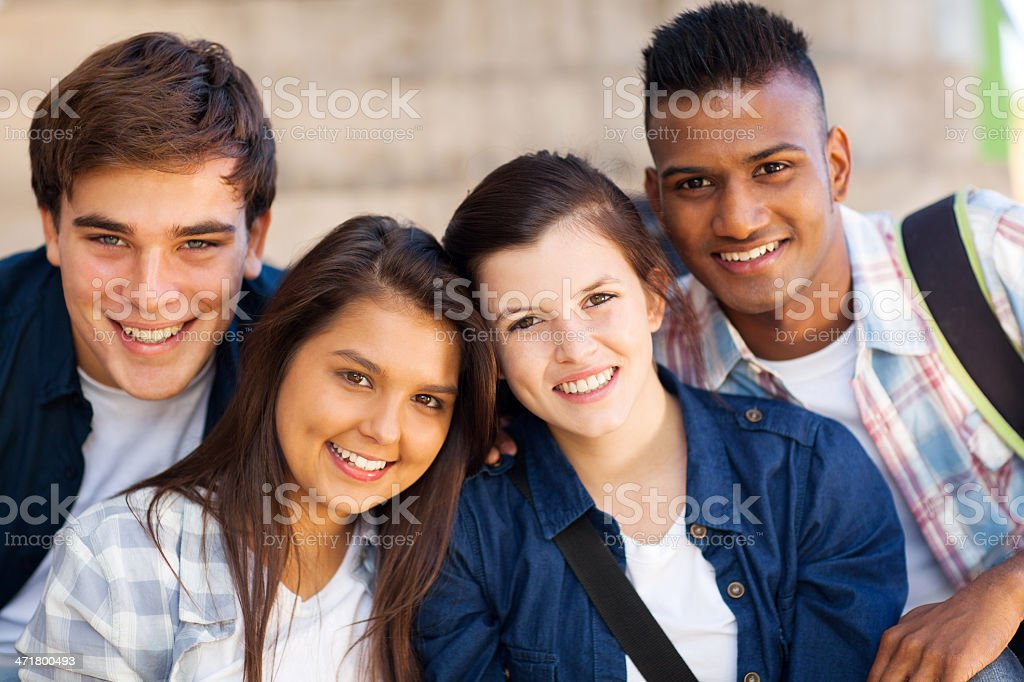 group of teen high shcool students stock photo