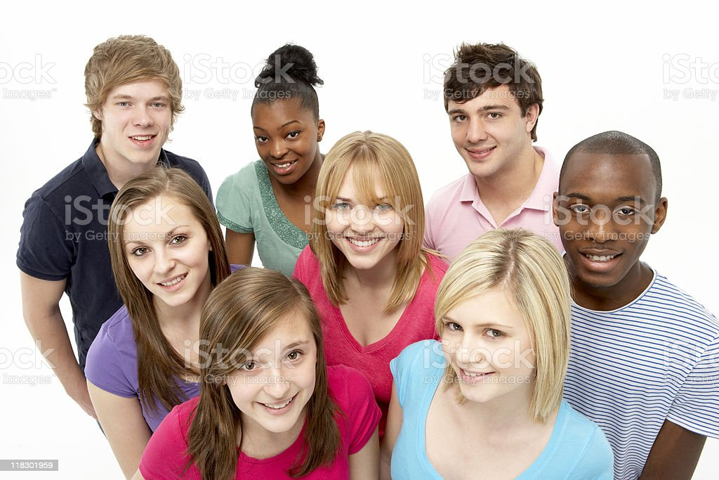 Group Of Teenage Friends In Studio stock photo