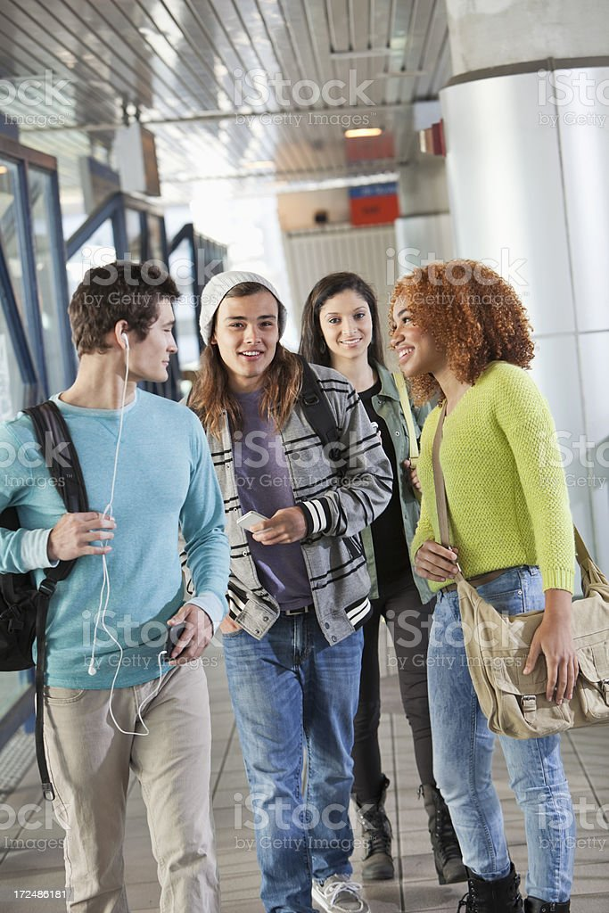 Group of teenage friends stock photo