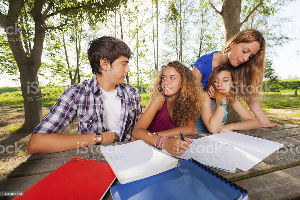 Group of Teenage Students at Park stock photo