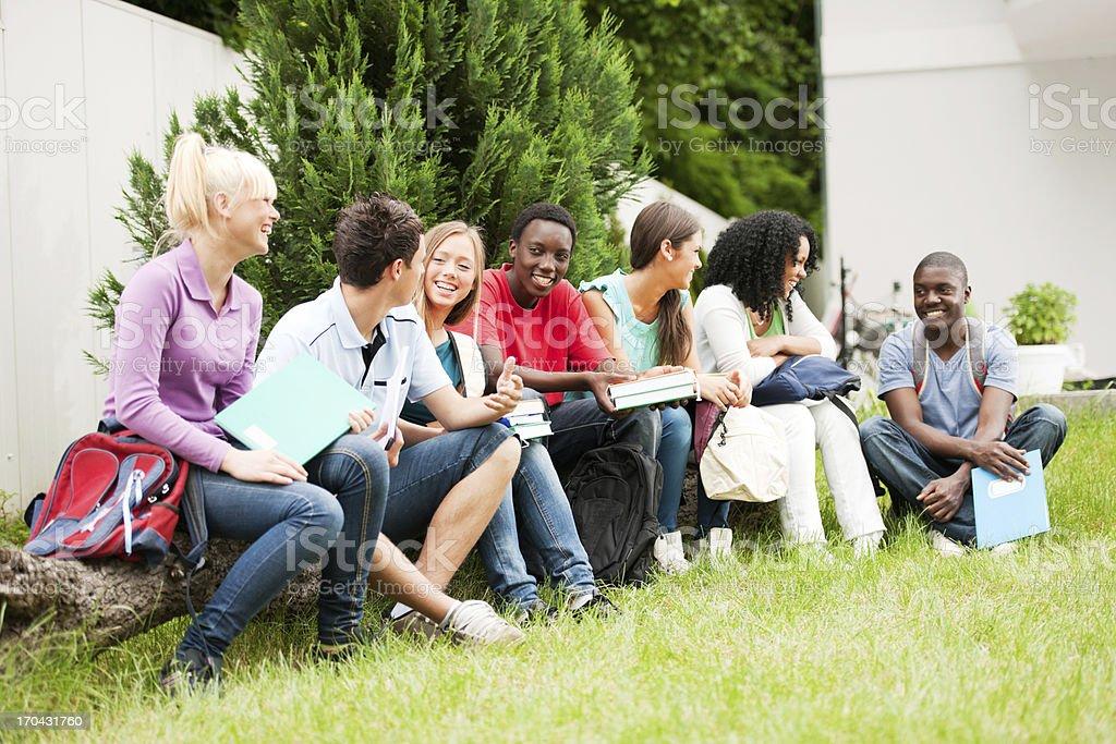 Group of teenage students enjoying outside. royalty-free stock photo