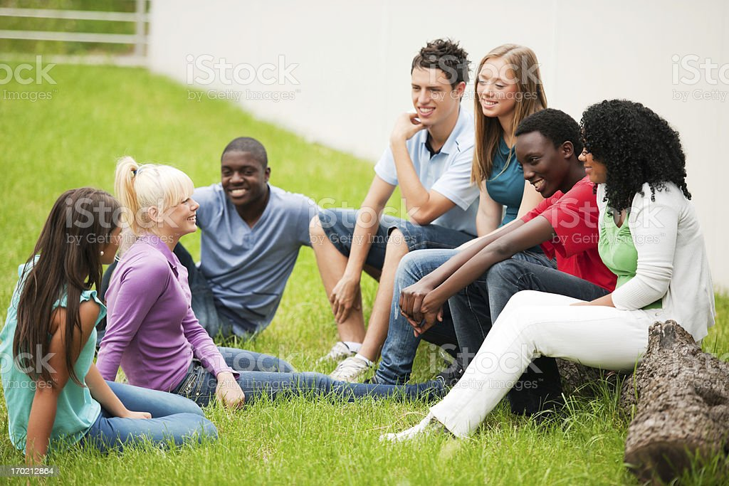 Group of teenage students sitting in a park on grass royalty-free stock photo
