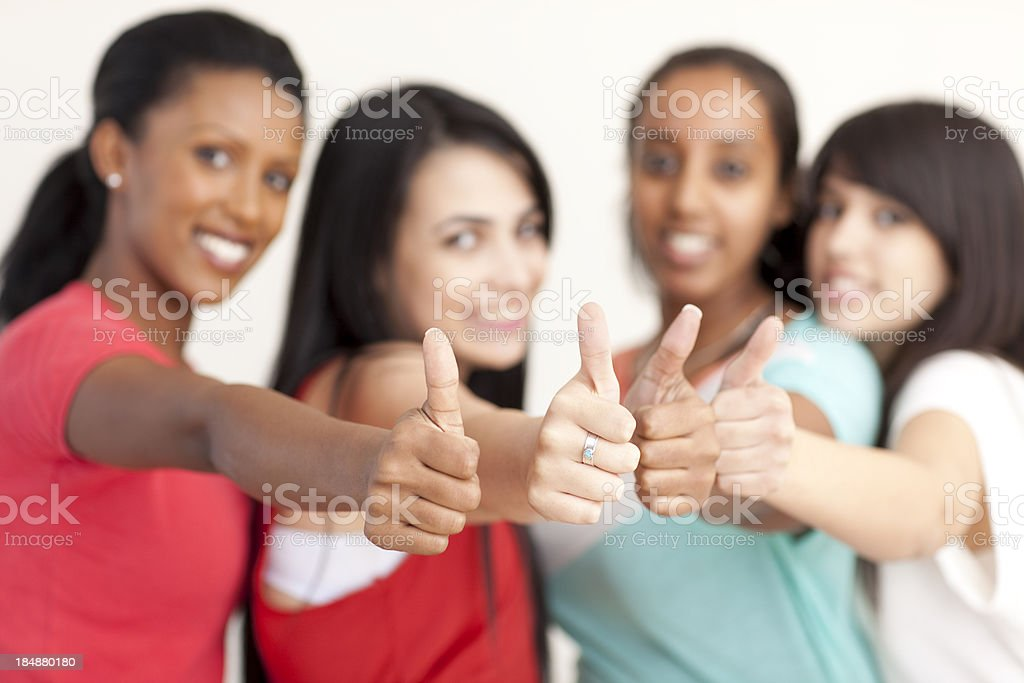 Group of teenage with thumb up. royalty-free stock photo