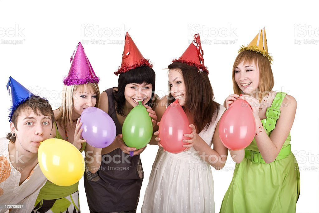 Group of teenager celebrate birthday. royalty-free stock photo