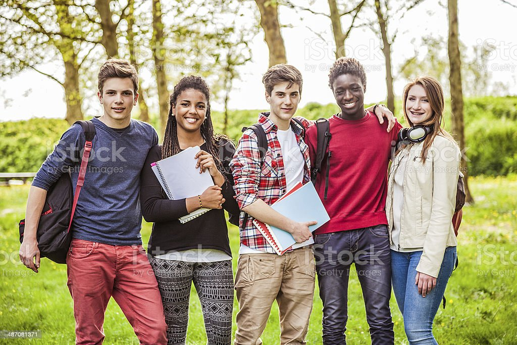 Group of teenager students stock photo