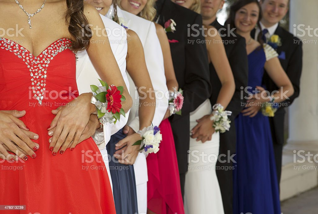 Group of Teenagers Dressed for the Prom stock photo