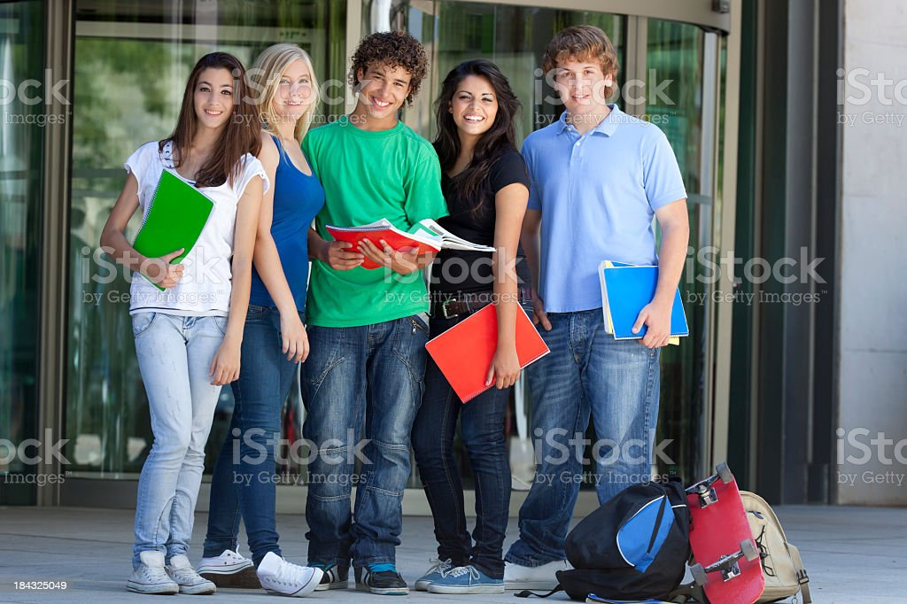 A group of teenagers getting ready with their back to school stock photo