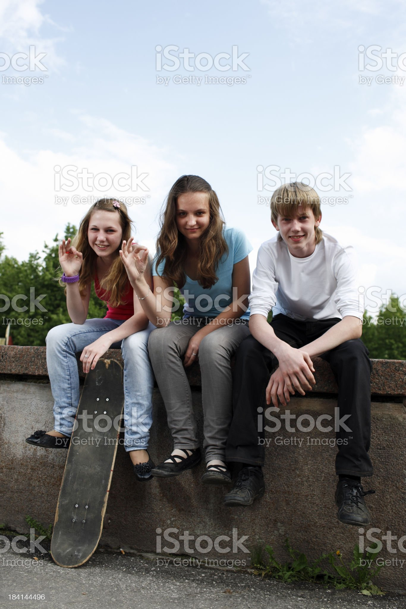 group of teenagers on the streets royalty-free stock photo