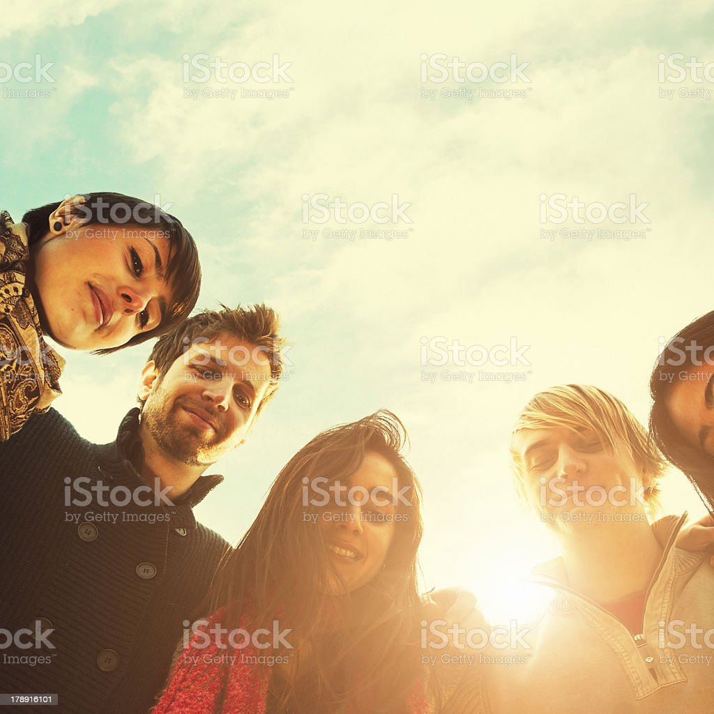 Group of teenagers outdoors royalty-free stock photo